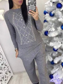 Grey Drawstring Pearl 2-in-1 Fashion Long Jumpsuit