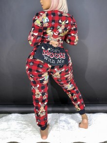 Red Elk Pattern Zipper V-neck Butt Flap Onesie Christmas Long Jumpsuit With Drop Seat