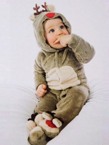 Brown Patchwork Hooded Going Out Christmas Baby Cute Jumpsuit