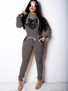 Grey Patchwork Heart Sequin Pockets Two Piece Hooded NYE Casual Long Jumpsuit