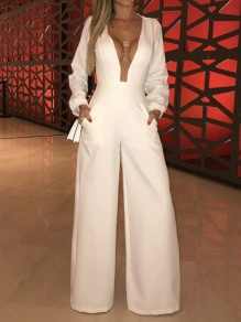White Patchwork Grenadine Pockets Deep V-neck Long Sleeve Wide Leg High Waisted Long Jumpsuit Pants