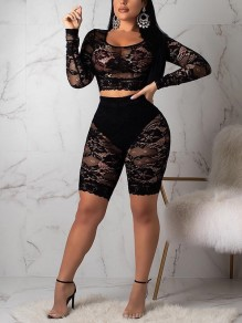 Black Patchwork Lace Two Piece Sheer Long Sleeve Party Clubwear Short Jumpsuit