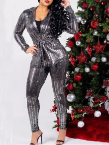 Silver Striped Sequin Glitter Sashes Two Piece Sparkly NYE Christmas Long Jumpsuit