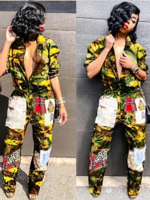 Yellow Camouflage Pockets Turndown Collar Cargo Hippie Casual Long Jumpsuit