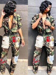 Army Green Camouflage Pockets Turndown Collar Cargo Hippie Casual Long Jumpsuit