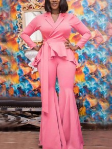 Pink Belt Ruffle Swallowtail V-neck Long Sleeve Two Piece Bell Bottomed Flares Party Long Jumpsuit