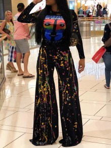 Black Shantou Print Tie Dyeing Two Piece Long Sleeve Casual Wide Leg Palazzo Long Jumpsuit