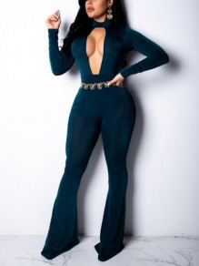 Navy Blue Cut Out Pleuche High Waisted One Piece Bell Bottom Flare Long Jumpsuit