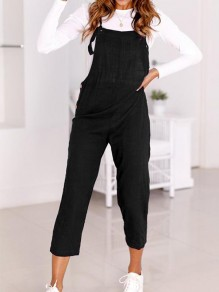 Black Buttons Mid-rise Fashion Overall Pants Nine's Jumpsuit