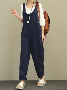 Navy Blue Pockets Shoulder-Strap Round Neck Sleeveless Casual Long Jumpsuit