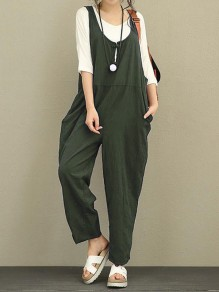 Army Green Pockets Shoulder-Strap Round Neck Sleeveless Casual Long Jumpsuit