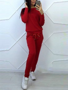 Red Pockets Drawstring Round Neck Long Sleeve Casual Long Jumpsuit