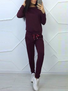 Wine Red Pockets Drawstring Round Neck Long Sleeve Casual Long Jumpsuit