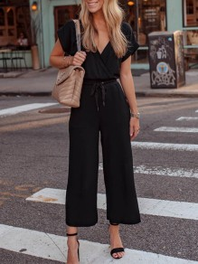 Black Patchwork Belt Pockets V-neck Fashion Jumpsuit Pant