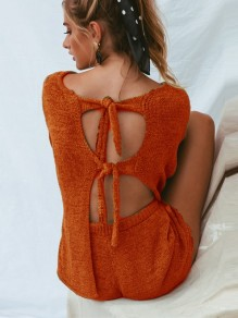 Orange Bow Elastic Waist Fashion Short Jumpsuit