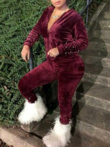 Burgundy Patchwork Pearl Pockets Two Piece Pleuche Hooded Casual Long Jumpsuit