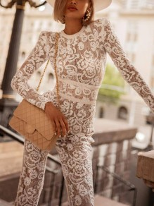 White Patchwork Lace Embroidery Bodycon Round Neck Long Sleeve Jumpsuit Pant
