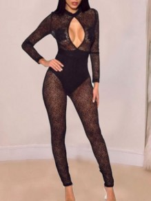 Black Patchwork Lace Cut Out Bodycon Sheer Party Clubwear Long Jumpsuit
