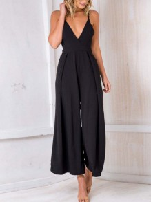 Black Condole Belt Tie Back Backless V-neck Sleeveless Fashion Long Jumpsuit