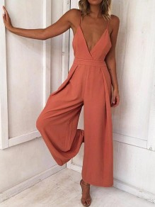 Nacarat Condole Belt Tie Back Backless V-neck Sleeveless Fashion Long Jumpsuit