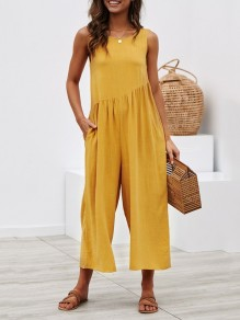 Yellow Pockets Backless Round Neck Sleeveless Fashion Wide Long Jumpsuit Pant