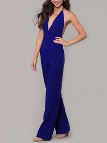 Blue Condole Belt Tie Back Backless Plunging Neckline Sleeveless Elegant Long Jumpsuit