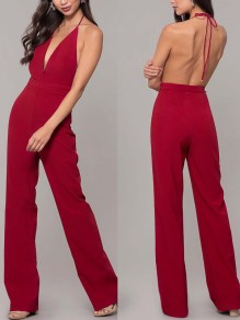 Wine Re Condole Belt Tie Back Backless Plunging Neckline Sleeveless Elegant Long Jumpsuit