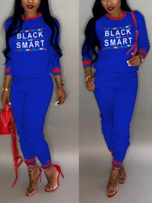 "Sapphire Blue ""BLACK SMART"" Pockets Two Piece Long Sleeve Round Neck Casual Long Jumpsuit"