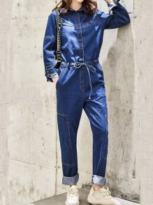 Dark Blue Drawstring Pockets Single Breasted Turndown Collar Long Sleeve Fashion Long Jumpsuit