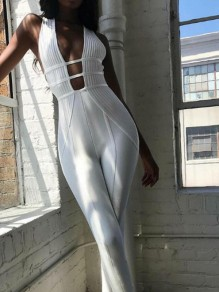 White Cut Out Bodycon Deep V-neck Sleeveless Streetwear Jumpsuit Pants