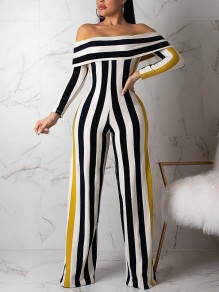 Black Striped Off Shoulder Bodycon Long Sleeve Party Wide Leg Palazzo Long Jumpsuits