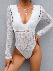 White Patchwork Lace Cut Out V-neck Long Sleeve Fashion Short Jumpsuit