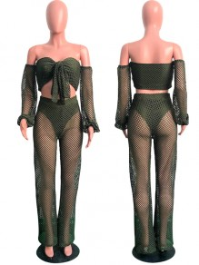 Army Green Grenadine Cut Out Off Shoulder Two Piece Sheer Long Sleeve Beachwear Party Wide Leg Long Jumpsuit