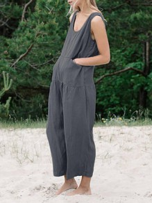 Grey Pockets Shoulder-Strap U-neck Sleeveless Fashion Long Jumpsuit