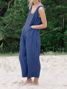 Blue Pockets Shoulder-Strap U-neck Sleeveless Fashion Long Jumpsuit