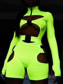 Lime Neon Green Cut Out Fluorescence Belt Buckle High Waisted Clubwear Biker Romper Short Jumpsuit