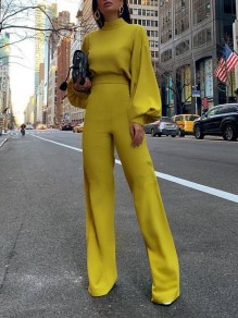 Yellow Patchwork High Neck Lantern Sleeve Fashion Jumpsuit Pant