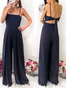 Navy Blue Draped Tie Back Spaghetti Strap High Waisted Fashion Long Jumpsuit