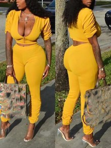 Yellow Zipper Bodycon High Waisted Two Piece Fashion Jumpsuit Pants