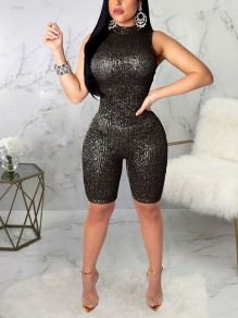 Black Shimmer Sequin Band Collar Bodycon Clubwear Sparkly Birthday Party Five's Length Short Jumpsuit