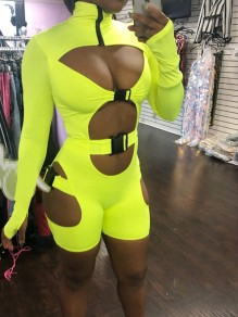Yellow Neon Buckle Cut Out Zipper High Neck Bodycon Clubwear Biker Bodysuit Short Jumpsuit Pants