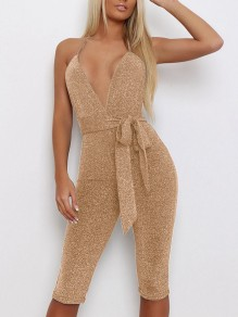 Light Golden Shimmer Sequin Belt Lace-up Halter Neck Backless Deep V-neck Clubwear High Waisted Seven's Length Short Jumpsuit Pants