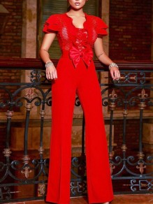 Red Patchwork Lace Bow Cascading Ruffle Bodycon Elegant Party Wide Leg Palazzo Long Jumpsuit