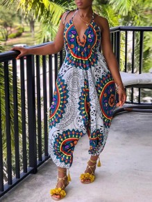White Africa Tribal Bohemian V-neck Halter Neck High Waisted Ankara Harem Long Jumpsuit