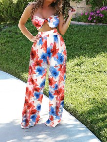 Red Tie Dye 2-in-1 Spaghetti Strap Wide Leg Long Jumpsuit
