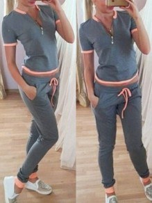 Grey-Orange Patchwork Pockets Zipper 2-in-1 Mid-rise Sports Long Jumpsuit