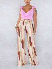 Pink Geometric Ruffle Two Piece V-neck Bohemian Wide Leg Palazzo Long Jumpsuit