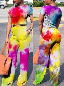 Multicolor Colorful Tie Dye Round Neck Short Sleeve Two Piece High Waisted Wide Leg Long Jumpsuit Pants