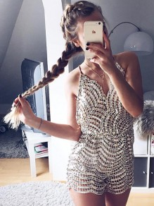 Champagne Patchwork Sequin One Piece Backless Sparkly Short Jumpsuit