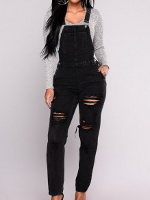 Black Pockets Buttons Cut Out High Waisted Long Jumpsuit Overall Pants